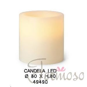 Immagine di Candela in vera cera con luce led per decorazioni 80x80 mm - art. 49490
