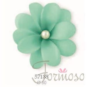 Immagine di Camelia c/perla+molletta decorazione D80mm Acquamarina set 12pz art 57188