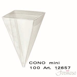 Immagine di Cono Mini in pvc trasparente h 100 mm Box 20 pz art 12657