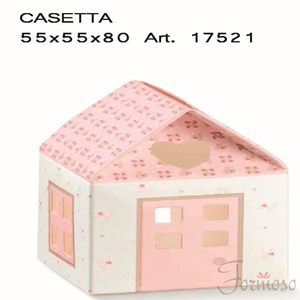 Immagine di Scatola bomboniera Casetta Bloom Rosa 55x55x80mm  Set 10 pz art 17521