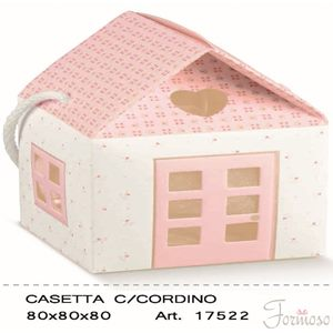 Immagine di Scatola bomboniera Casetta Bloom Rosa 80x80x80mm Set 10 pz art 17522