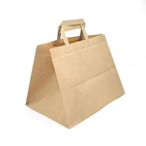 Immagine di Busta in carta colore Avana con Manico Piatto per TAKE AWAY 32 x 17 x h 29 cm cartone 300 pz art TAKE32x17A