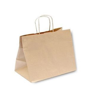 Immagine di Busta in carta colore Avana con Manico Ritorto per TAKE AWAY  36 x 22 x h 33 cm cartone 150 pz art TAKE362233A