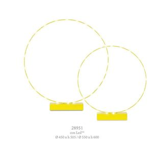 Immagine di Decorazione  Wedding Matrimonio set 2 cerchi Giallo con base e LED D. 45xh 50 - D 55 x h 60   Art 28951